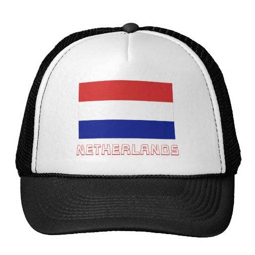 Bandera holandesa con nombre gorros bordados