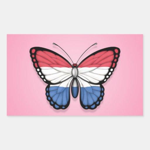 Bandera holandesa de la mariposa en rosa rectangular pegatina