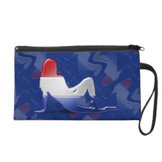 Bandera holandesa de la silueta del chica