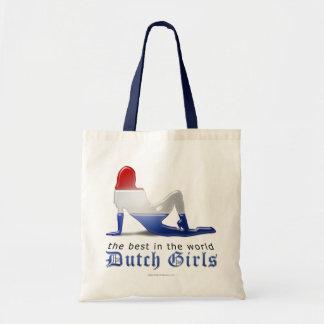 Bandera holandesa de la silueta del chica bolsa de mano