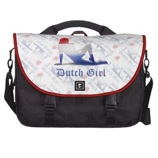 Bandera holandesa de la silueta del chica bolsas para portátil