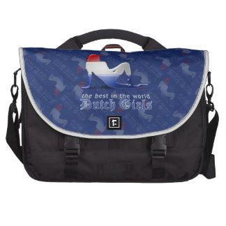 Bandera holandesa de la silueta del chica bolsas para portatil
