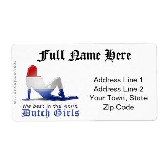 Bandera holandesa de la silueta del chica etiquetas de envío