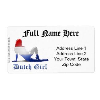 Bandera holandesa de la silueta del chica etiqueta de envío