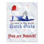 Bandera holandesa de la silueta del chica invitación 10,8 x 13,9 cm
