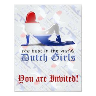 """Bandera holandesa de la silueta del chica invitación 4.25"""" x 5.5"""""""