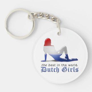 Bandera holandesa de la silueta del chica llavero redondo acrílico a doble cara