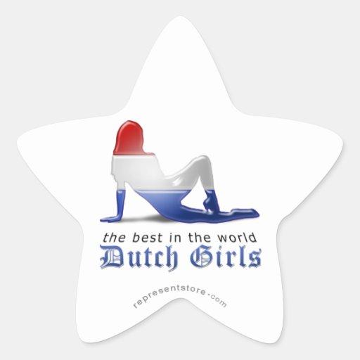 Bandera holandesa de la silueta del chica pegatina en forma de estrella