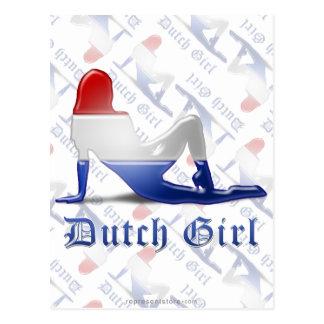 Bandera holandesa de la silueta del chica postales