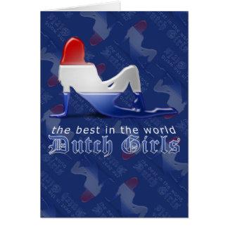 Bandera holandesa de la silueta del chica tarjeta de felicitación