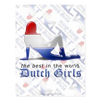 Bandera holandesa de la silueta del chica postal