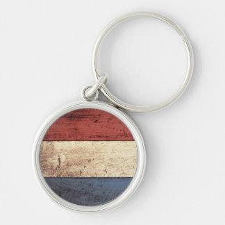 Bandera holandesa de madera vieja llavero redondo plateado