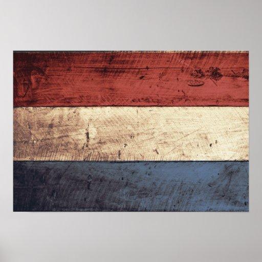 Bandera holandesa de madera vieja póster