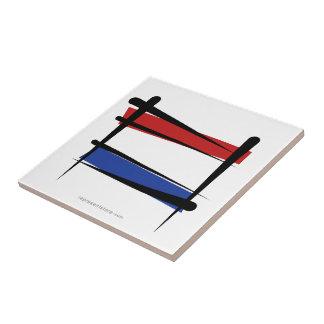 Bandera holandesa del cepillo azulejo cuadrado pequeño