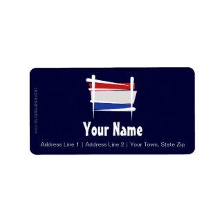 Bandera holandesa del cepillo etiqueta de dirección