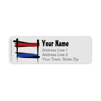 Bandera holandesa del cepillo etiqueta de remitente