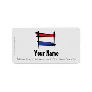 Bandera holandesa del cepillo etiquetas de dirección