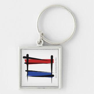 Bandera holandesa del cepillo llavero cuadrado plateado