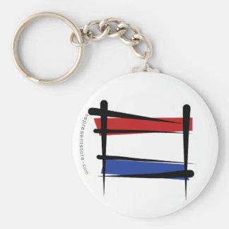 Bandera holandesa del cepillo llavero redondo tipo pin