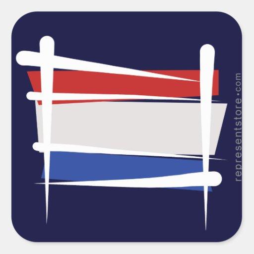 Bandera holandesa del cepillo pegatina cuadrada
