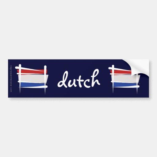 Bandera holandesa del cepillo pegatina para auto