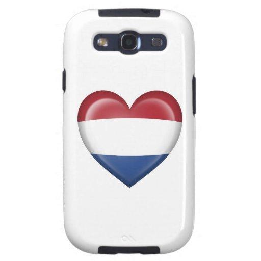 Bandera holandesa del corazón en blanco galaxy s3 coberturas