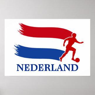 Bandera holandesa del fútbol impresiones
