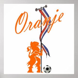 Bandera holandesa del fútbol total de la bandera d póster