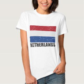 Bandera holandesa del vintage remera