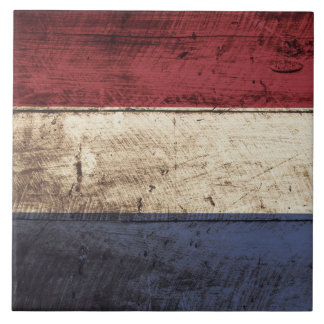 Bandera holandesa en grano de madera viejo azulejo cuadrado grande