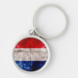 Bandera holandesa llavero redondo plateado