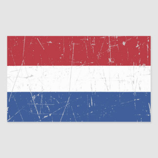 Bandera holandesa rascada y rasguñada pegatina rectangular