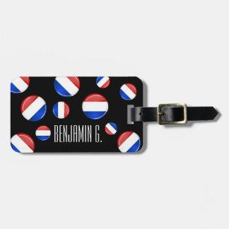Bandera holandesa redonda brillante etiqueta para equipaje