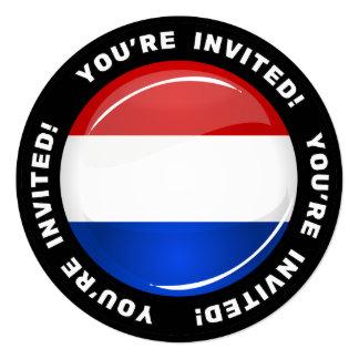"""Bandera holandesa redonda brillante invitación 5.25"""" x 5.25"""""""