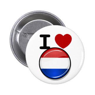Bandera holandesa redonda brillante pin redondo de 2 pulgadas