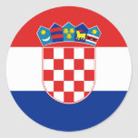 Bandera hora Hrvatska de Croacia Etiqueta Redonda