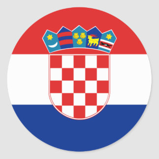 Bandera hora Hrvatska de Croacia Pegatina Redonda