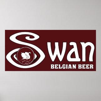 Bandera horizontal de la cerveza belga del cisne d poster