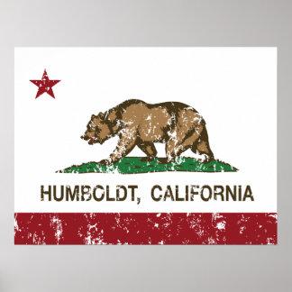 Bandera Humboldt de la república de California Póster