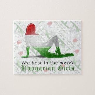 Bandera húngara de la silueta del chica puzzles con fotos