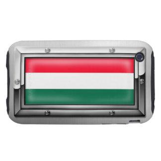 Bandera húngara en un marco de acero carcasa resistente para iPhone