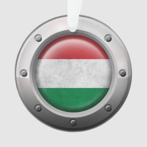Bandera húngara industrial con el gráfico de acero
