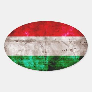 Bandera húngara pegatina ovalada