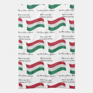 Bandera húngara y lema toalla de cocina