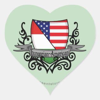 Bandera Húngaro-Americana del escudo Pegatina Corazón Personalizadas