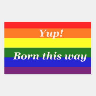 "Bandera impresionante ""Yup del arco iris pegatinas Rectangular Altavoces"