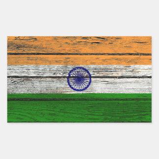 Bandera india con efecto de madera áspero del pegatina rectangular