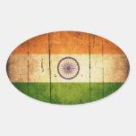Bandera india de madera pegatina de oval personalizadas