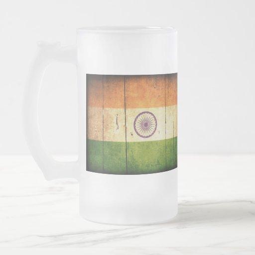 Bandera india de madera taza cristal mate