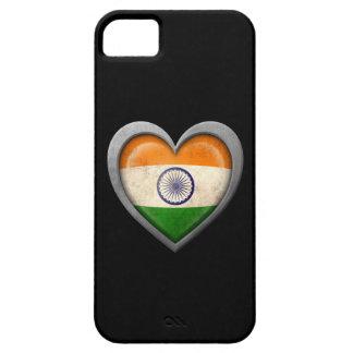 Bandera india del corazón con efecto del metal iPhone 5 Case-Mate cárcasa